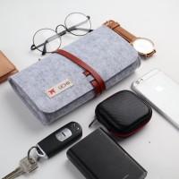 UCHII Travel Felt Pencil Case Leather String Clutch Kain Make Up Grey