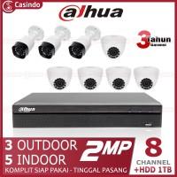 CCTV DAHUA 8 KAMERA 2MP HDD 1TB (3 OUTDOOR 5 INDOOR)