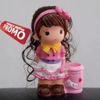 (IMPORT) Celengan Boneka Besar Pen Stand Cewek Girl Rambut Bando Pink