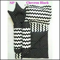 Hot Deal Chevron Black Baby Bed Set Bedcover Selimut Bantal Cover