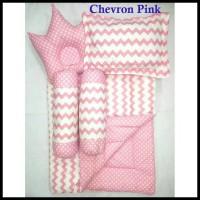 Termurah Chevron Pink Baby Bed Set Bedcover Selimut Bantal Cover Crown