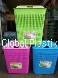 Keranjang Pakaian Baju / Laundry Troy Basket Rotan Plastik Warna