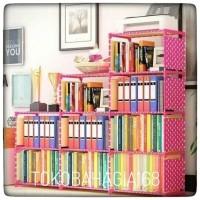 Rak buku 3sisi lemari serbaguna portable