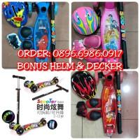 Scooter Anak Bonus Dekker Pelindung + Helm / Skuter Otoped 4 Roda Led