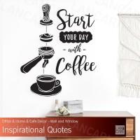 Sticker Cutting Start Coffee dinding kaca Quotes Cafe Kopi Stiker kafe