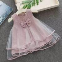 dress bayi perempuan motif kotak kotak tutu pita cantik