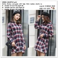 Mini Dress Kemeja Kotak Lengan Panjang Wanita Korea Import AB648764