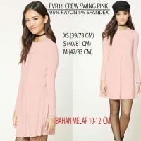 Dress Wanita Forever 21 18 Crew Swing Pink