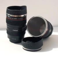 Gelas Tumbler Bentuk Lensa Kamera 400ml - Black