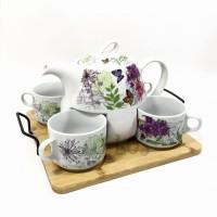 Cangkir Set dengan Teko Teh-Kopi keramik NAMPAN 7pc HL (00143.02682)