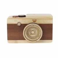 Kotak Musik Kayu Kamera Wooden Camera Music Box