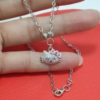 kalung hellokitty/hello kitty anak perak silver 925 lapis emas putih