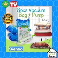 Gratis pompa Vakum Plastik baju Travel Vacuum Storage Bag Jumbo Isi 8