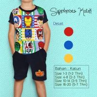 Baju Kaos Anak Laki-Laki/Setelan Celana Pendek Anak - Superhero Kotak