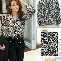 Blouse leopard import Blouse pnj macan eb 6601 Bahan katun fit
