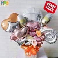 Parcel Balon Table Bunga Bouquet / Buket Congratulations