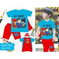Baju Setelan Anak Laki Cowok London Kids LK Kaos Superhero Squad Sayap