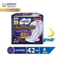 Charm Pembalut Safe Night Wing 42cm isi 8 pads