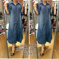 longdress import Tunic polo jeans akf 8806 Bahan jeans fit to