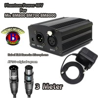 Phantom Power 48V For Mic BM800 BM700 BM8000+Kabel XLR 3 Meter