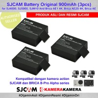 SJCAM Battery Original 3pcs for SJCam Brica BPRO AE (Baterai Cadangan)