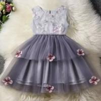 dress bayi perempuan pesta bunga bordir tutu grey elegan