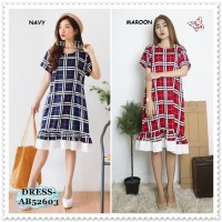 Baju Casual Mini Dress Kotak Bangkok Korea Import AB52603 Merah Red