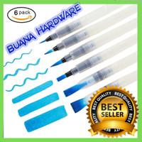 Kuas Lukis Cat Air / Water Brush Refillable 6 Pcs White