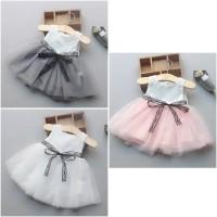 Dress Baju Pesta Bayi Anak Perempuan Putih Tutu Katun Aqiqah Akikah
