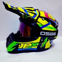 Helm Cross Jpx Trabas X4 Rossi Black Plus Goggle Osbe Hitam Pelangi