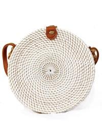 Tas Rotan Bali Bulat 20cm Putih Polos / FLower Tali Coklat / Putih