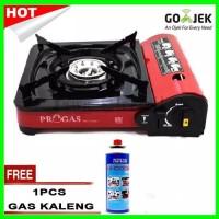 Kompor Gas Portable Progas 2in1 Free Gas Kaleng