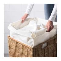 BRANAS Keranjang laundry dg alas kain, rotan,41x41x60 cm