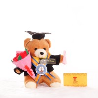 Boneka Wisuda Teddy Bear Coklat Mini 15cm + Buket Bunga Flanel