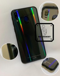 SAMSUNG GALAXY M20 UME AURORA TEMPERED GLASS HARD CASE COLOR
