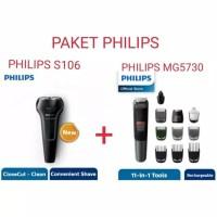 Paket Philips Shaver S106 + Philips Multigroom MG5730 11-in-1 Original