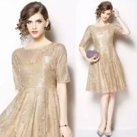 long dress swing elegan bahan lace