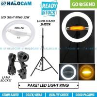 LED Ring Light Mini 22W + Light Stand + Socket Lamp (Studio/Makeup)