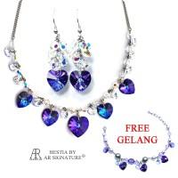 Set Perhiasan Kalung Anting Gratis Gelang - Cactier Heliotrope Set