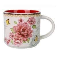 Mug | Gelas 14oz Keramik 2 Tone Bunga Pink 400 ml SET 6