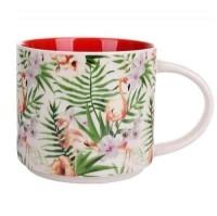 Mug Gelas 14oz Keramik 2 Tone Flamingo Coklat 400 ml SET 6
