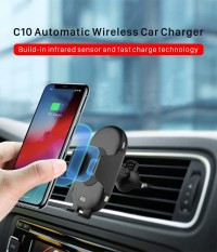 KIIP C10 INFRARED SENSOR CAR HOLDER QI FAST WIRELESS CHARGER 10W