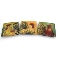 """""""Dekorasi Import Rockin Rooster Plates - Set of 3 by Imax Home"""""""