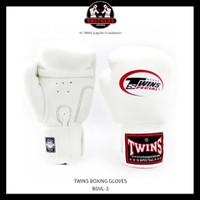 Sarung Tinju TWINS 10 Oz Muay Thai Boxing - WHITE