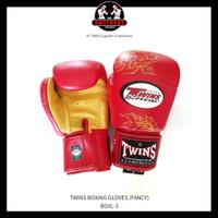Sarung Tinju TWINS 10 Oz Boxing Muay Thai - Red Gold Dragon