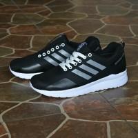 Sepatu Sport Adidas Questar Ride Running Casual Pria Hitam Abu / Merah