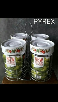 toples pyrex 4 set dan rack puter
