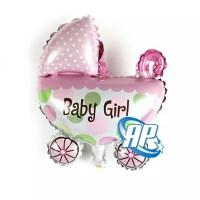 balon foil kereta baby girl / balon foil baby shower stroller girl