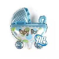 balon foil kereta baby boy / balon foil baby shower stroller boy
