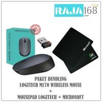 Wireless Mouse Logitech M170 + Mousepad Logitech / Microsoft Black